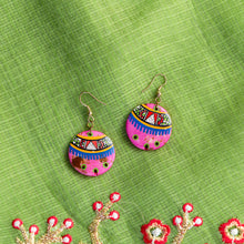 Load image into Gallery viewer, 'Tribal Floral Rounds' Hand-painted Bohemian Earrings (Resin, Punch Pink, 2 Inch)
