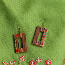 Load image into Gallery viewer, 'Tribal Floral Danglers' Hand-painted Bohemian Earrings (Sheesham Wood, 3 Inch)