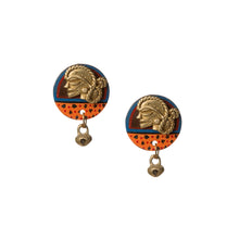 Load image into Gallery viewer, 'Tribal Dhokra Women' Bohemian Earrings Handmade In Dhokra Art (Brass, Coconut Shell, 1.5 Inch)