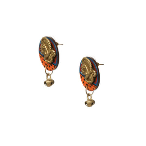 'Tribal Dhokra Women' Bohemian Earrings Handmade In Dhokra Art (Brass, Coconut Shell, 1.5 Inch)