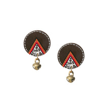 Load image into Gallery viewer, 'Tribal Coconut Warli' Bohemian Earrings Hand-painted In Warli Art (Coconut Shell, 1.4 Inch)