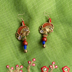 'Tribal Dhokra Girls' Bohemian Earrings Handmade In Dhokra Art (Brass, 3.5 Inch)