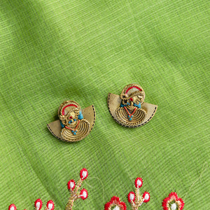 'Tribal Dhokra Women' Bohemian Earrings Handmade In Dhokra Art (Brass, 1.4 Inch)