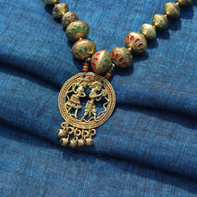 "Load image into Gallery viewer, ""Tribal Couple Orbs"" Bohemian Brass Necklace Handcrafted In Dhokra Art (Matinee)"