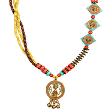 "Load image into Gallery viewer, ""Tribal Men Faces"" Bohemian Brass Necklace Handcrafted In Dhokra Art (Matinee)"
