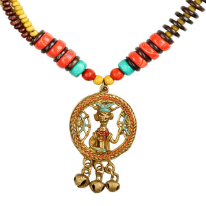 """Tribal Men Faces"" Bohemian Brass Necklace Handcrafted In Dhokra Art (Matinee)"