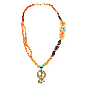 """Tribal Man Beaded"" Warli Hand-painted Bohemian Brass Necklace Handcrafted In Dhokra Art (Matinee)"