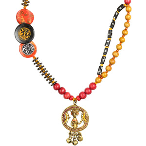 """Tribal Men Beaded"" Warli Hand-painted Bohemian Brass Necklace Handcrafted In Dhokra Art (Matinee)"