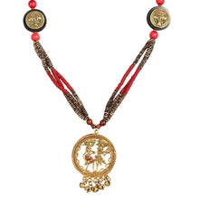 "Load image into Gallery viewer, ""Tribal Couple Faces"" Bohemian Brass Necklace Handcrafted In Dhokra Art (Matinee)"
