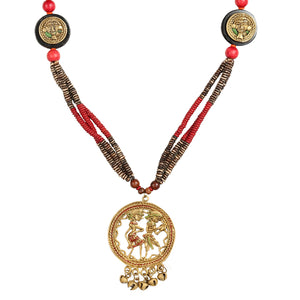 """Tribal Couple Faces"" Bohemian Brass Necklace Handcrafted In Dhokra Art (Matinee)"
