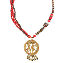 "Load image into Gallery viewer, ""Tribal Couple Beaded"" Bohemian Brass Necklace Handcrafted In Dhokra Art (Matinee)"