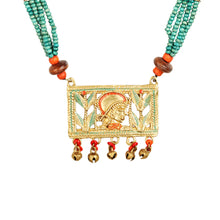 "Load image into Gallery viewer, ""Tribal Queen Beaded"" Bohemian Brass Necklace Handcrafted In Dhokra Art (Matinee)"