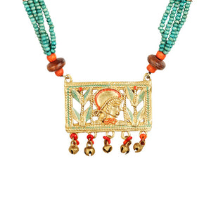 """Tribal Queen Beaded"" Bohemian Brass Necklace Handcrafted In Dhokra Art (Matinee)"