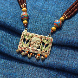 """Tribal Queen Beaded"" Bohemian Brass Necklace Handcrafted In Dhokra Art (Opera)"