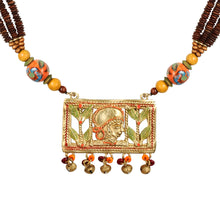 "Load image into Gallery viewer, ""Tribal Queen Beaded"" Bohemian Brass Necklace Handcrafted In Dhokra Art (Opera)"