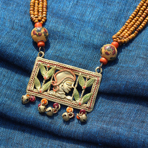 """Tribal Lady Strands"" Bohemian Brass Necklace Handcrafted In Dhokra Art (Matinee)"
