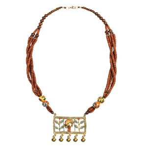"""Tribal Lady Beaded"" Bohemian Brass Necklace Handcrafted In Dhokra Art (Matinee)"