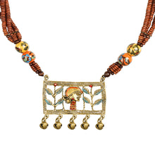 "Load image into Gallery viewer, ""Tribal Lady Beaded"" Bohemian Brass Necklace Handcrafted In Dhokra Art (Matinee)"