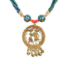 "Load image into Gallery viewer, ""Tribal Couple Strands"" Bohemian Brass Necklace Handcrafted In Dhokra Art (Matinee)"