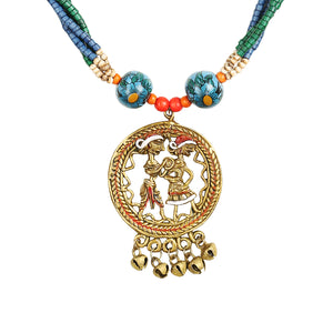 """Tribal Couple Strands"" Bohemian Brass Necklace Handcrafted In Dhokra Art (Matinee)"