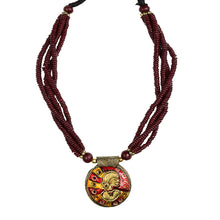 "Load image into Gallery viewer, ""Tribal Woman Beaded"" Bohemian Brass Necklace Handcrafted In Dhokra Art (Bib)"