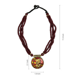 """Tribal Woman Beaded"" Bohemian Brass Necklace Handcrafted In Dhokra Art (Bib)"