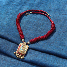"Load image into Gallery viewer, ""Tribal Warrior Beaded"" Bohemian Brass Necklace Handcrafted In Dhokra Art (Matinee)"