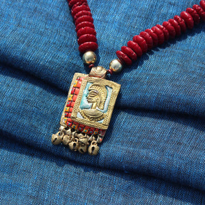 """Tribal Warrior Beaded"" Bohemian Brass Necklace Handcrafted In Dhokra Art (Matinee)"