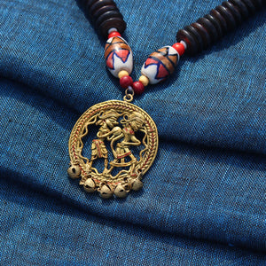 """Tribal Couple Rounds"" Bohemian Brass Necklace Handcrafted In Dhokra Art (Matinee)"