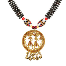 "Load image into Gallery viewer, ""Tribal Couple Rounds"" Bohemian Brass Necklace Handcrafted In Dhokra Art (Matinee)"