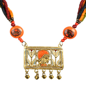 """Tribal Queen Floral"" Bohemian Brass Necklace Handcrafted In Dhokra Art (Matinee)"