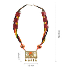 "Load image into Gallery viewer, ""Tribal Queen Floral"" Bohemian Brass Necklace Handcrafted In Dhokra Art (Matinee)"