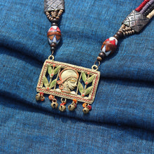 "Load image into Gallery viewer, ""Tribal Queen Carved"" Bohemian Brass Necklace Handcrafted In Dhokra Art (Matinee)"