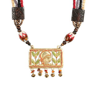 """Tribal Queen Carved"" Bohemian Brass Necklace Handcrafted In Dhokra Art (Matinee)"