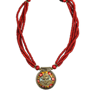 """Tribal Woman Strands"" Bohemian Brass Necklace Handcrafted In Dhokra Art (Bib)"