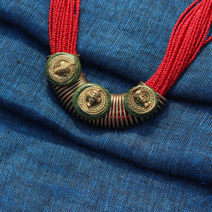 """Tribal Men Trio"" Bohemian Brass Necklace Handcrafted In Dhokra Art (Bib)"