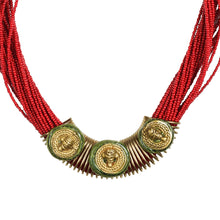 "Load image into Gallery viewer, ""Tribal Men Trio"" Bohemian Brass Necklace Handcrafted In Dhokra Art (Bib)"