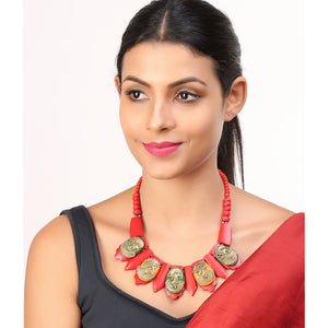 """Tribal Women Faces"" Bohemian Brass Necklace Handcrafted In Dhokra Art (Bib)"