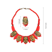 "Load image into Gallery viewer, ""Tribal Women Faces"" Bohemian Brass Necklace Handcrafted In Dhokra Art (Bib)"