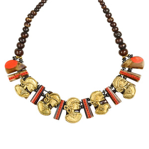 """Tribal Lady Faces"" Bohemian Brass Necklace Handcrafted In Dhokra Art (Bib)"