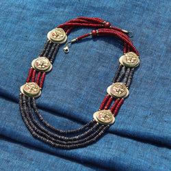"""Tribal Men Rounds"" Bohemian Brass Necklace Handcrafted In Dhokra Art (Matinee)"
