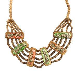 """Tribal Men Beaded"" Bohemian Brass Necklace Handcrafted In Dhokra Art (Bib)"