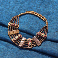 "Load image into Gallery viewer, ""Tribal Men Carved"" Bohemian Brass Necklace Handcrafted In Dhokra Art (Bib)"