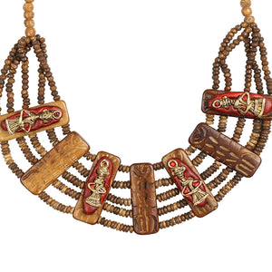 """Tribal Men Carved"" Bohemian Brass Necklace Handcrafted In Dhokra Art (Bib)"