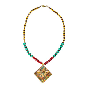 'Tribal Dhokra Squares' Bohemian Brass Necklace Handmade In Dhokra Art (Brass, Wood, Matinee)