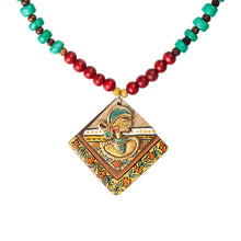 Load image into Gallery viewer, 'Tribal Dhokra Squares' Bohemian Brass Necklace Handmade In Dhokra Art (Brass, Wood, Matinee)
