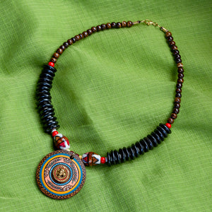 'Tribal Dhokra Black' Bohemian Brass Necklace Handmade In Dhokra Art (Brass, Wood, Matinee)
