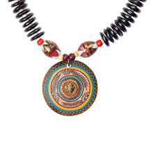 Load image into Gallery viewer, 'Tribal Dhokra Black' Bohemian Brass Necklace Handmade In Dhokra Art (Brass, Wood, Matinee)