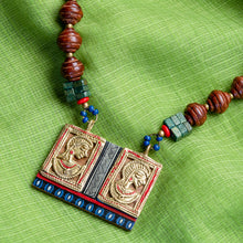Load image into Gallery viewer, 'Tribal Dhokra Twins' Bohemian Brass Necklace Handmade In Dhokra Art (Brass, Wood, Bib)