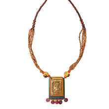 Load image into Gallery viewer, 'Tribal Dhokra Woman' Bohemian Brass Necklace Handmade In Dhokra Art (Brass, Wood, Matinee)